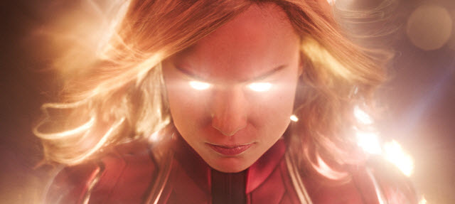 Brie Larson as Captain Marvel with Glowing Eyes
